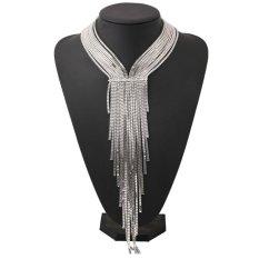 Jual Baru Fashion Perhiasan Berlian Multilayer Jumbai Panjang Paduan Kalung Keperakan Intl Murah