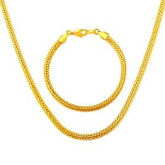 Baru Fashion Perhiasan Kalung Gelang Set 18 K Berlapis Emas Pria Perhiasan Mewah Kalung Rantai Wanita Hadiah
