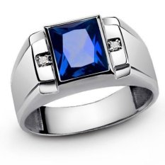 Jual Baru Fashion Perhiasan Sapphire Zircon 18Kt Emas Disepuh Wedding Ring Hadiah U S Ukuran 8 Sampai 15 Gr69188 Intl Oem Murah