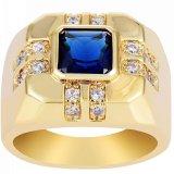 Spesifikasi Baru Fashion Mens 18 K Gold Plated Blue Cubic Zirconia Cincin Kawin Ukuran 8 15 Intl Yang Bagus Dan Murah