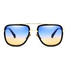 Mode Terkini Retro Bingkai Logam Pasangan Almond Cermin Sunglassesoversized Kacamata Hitam Persegi-C15 Cerah Hitam/Biru Di Teh-Intl