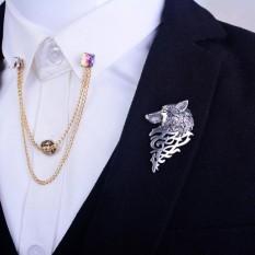 Fashion Baru Cincin Retro Logam Wolf Bros Pin Perhiasan untuk Pria SL-Intl