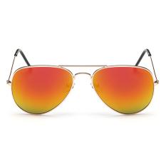 Baru Gaya Busana Wanita Sunglasses Round Lensa Kacamata Hitam-Emas Red Mercury