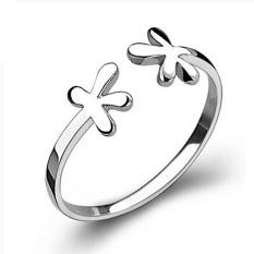 Baru Bunga Pembukaan Cincin Daftar Berlapis Perak Cincin Fashion Perhiasan Wemen Lady Pernikahan Pembukaan Ring-Intl