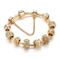 BARU Emas Berlapis Gelang Pandora Romantis Eropa Charms Gelang dengan UKURAN 20 Cm untuk Lady Fashion Hadiah Perhiasan SBR160241 = Ukuran: Tidak Ditentukan = Warna: Emas-Intl