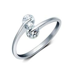 Daftar Baru Double Bor Berlapis Perak Cincin Fashion Perhiasan Wemen Lady Pernikahan Pembukaan Ring-Intl