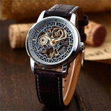 Promo New Men Classic Skeleton Automatic Mechanical Leather Strap Fashion Sport Military Wrist Watch Pmw074 Jam Tangan Pria Kulit Intl Akhir Tahun