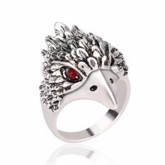 Baru Pria Fashion Cincin Retro Mengacu Pada Plat Eagle Cincin Berlian Imitasi (Perak)-