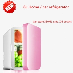 Toko Jual New Mini Mini Fridge Dormitory Small Family 6L Large Capacity Cold Hot Dual Purpose Refrigerator Pink Intl