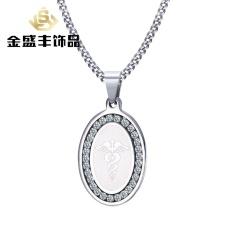 Baru Liontin Asli 34mm Stainless Steel Zircon Shang Shen Tongkat Tag Steel Perhiasan Pria PN-673 (Warna: Pendant Tanpa Jaringan)-Intl