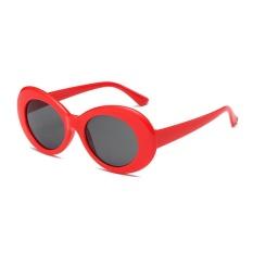 Baru Retro Kecil Kotak Sunglasses Pria And Wanita Tren Sunglasses-Red Box Lembar Abu-abu Hitam