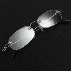 Harga Baru Tanpa Bingkai Perak Super Ringan Tanpa Bingkai Kacamata Baca 1 00 Membawa Kasus Kaca Pembesar Merk Oem