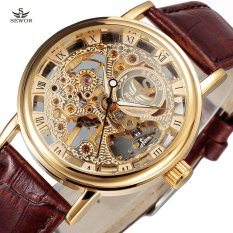Harga New Sewor Luxury Brand Gold Transparent Skeleton Watch Men Mechanical Hand Wind Wristwatch Male Fashion Leather Band Wristwatch Intl Terbaik