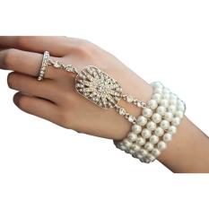Jual Baru Perak Flapper 58521 6 Cm Bagus S Gatsby Pearl Diamante Gelang Gaya Cincin Bridal Not Specified Murah