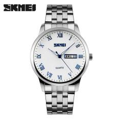 Toko Baru Skmei Mens Watches Fashion Merek Bisnis Kalender Minggu Men Watchs Casual Stainless Steel Quartz Wrist Watch Biru Murah Tiongkok