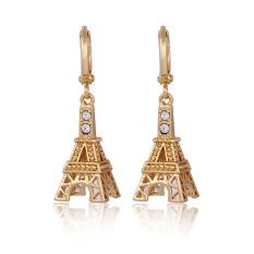Gaya Baru 18 Karat Berlapis Emas Zirkon Menara Eiffel Anting-anting Menjuntai