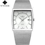 Top 10 Gaya Baru Wwoor Brand Luxury Men Square Waterproof Bisnis Stainless Steel Watch Pria Quartz Sports Watches Pria Analog Jam Intl Online