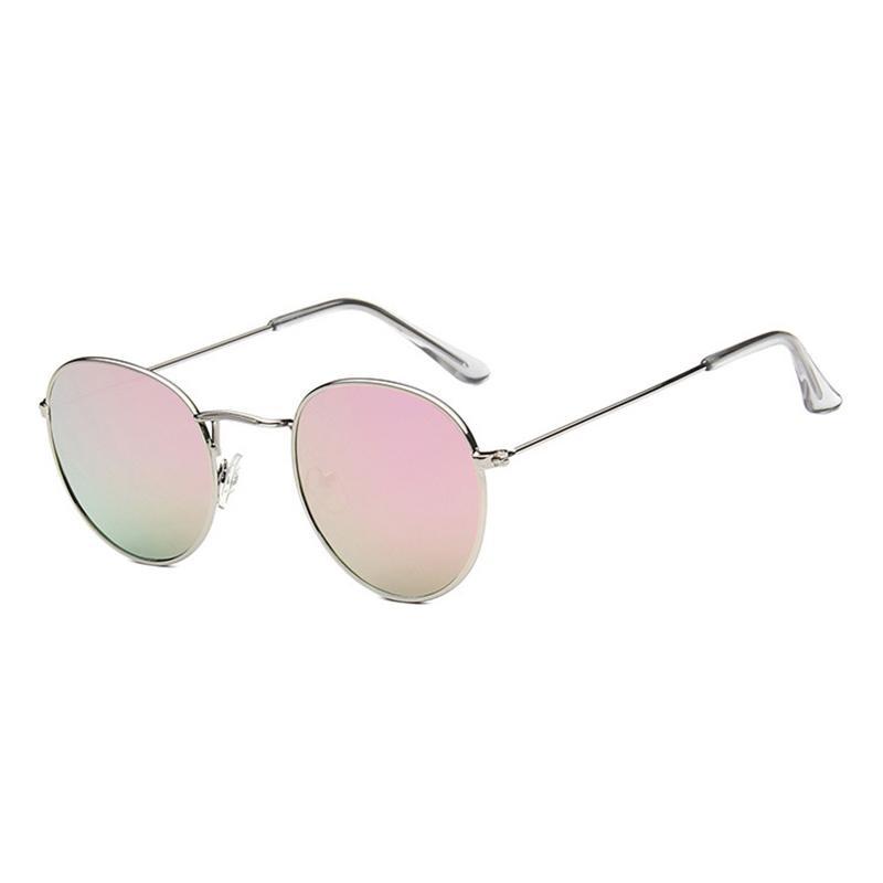 Kacamata Baru Trend Bulat Sunglasses Cerah Reflektif Berjemur Kacamata-Emas  Kotak Barbie Powder Film 415a74f3cc