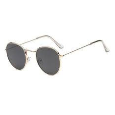 Tren Kacamata Baru Kacamata Bundar Terang Reflektif Berjemur Kacamata-emas Bingkai Abu-abu Lembar