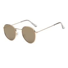 Tren Kacamata Baru Round Sunglasses Cerah Reflektif Berjemur Kacamata-emas Bingkai Tanah Emas Film