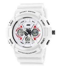 New Unisex Fashion Sport Watch Analog/Digital Water Resist Dual Time Multifungsi Alarm LED Womens Mens Wristwatch 6 Warna Pilihan 0966 (Putih) -Intl