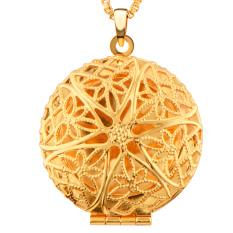 Baru Vintage Berongga-keluar Round Pendants Jewelry 18 K Berlapis Emas Dimasukkan Ke Dalam Parfum Padat atau Gambar Kalung & Pendant P30031-Intl