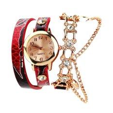 Baru Wanita Berpakaian Kuarsa Jam Tangan Snake Leather Gelang Emas Watch Merah