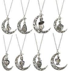 Terbaru Best Wish Kalung Bulan Pearl Kalung Hollow Alloy Kalung Oyster DROP Pendant (Ukuran/a: Tetesan Air ㄳㄼ Colorㄳㅊ Silver)-Intl
