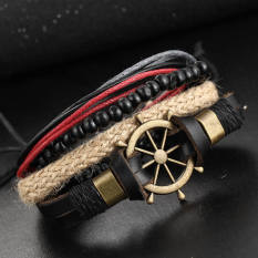 Spesifikasi Retro Terbaru Buatan Tangan Kulit Anyaman Anchor Kompas Pesona Kalung Pria Vintage Tung Dikepang Gelang Perhiasan Pria Internasional Merk Oem