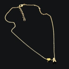 Terbaru Produk Panas 26 Surat Jantung Berbentuk Charm Pendant Kalung Pecinta Hadiah Emas/Perak Berlapis Women Kalung Sederhana -emas-Intl