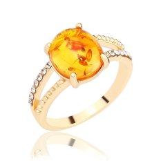 Terbaru Produk Panas Wanita Perhiasan Yang Indah Aksesoris Wanita Elegan Amber 925 Sterling Silver Ring-Emas-Intl
