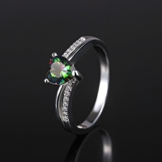 Terbaru Lingmei Perhiasan Jantung Memotong Rainbow & Putih Topaz Cincin Perak Gemstone Pernikahan-perak U.S. Ukuran #9-Intl