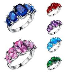 Terbaru Lingmei Perhiasan Jantung Memotong Rainbow & Putih Topaz Cincin Perak Gemstone-Green US Ukuran #6-Intl