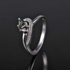 Terbaru Lingmei Perhiasan Kekasih Cincin Perak Jantung Memotong Rainbow/biru & Putih Topaz Gemstone-Multicolor Diamond Ukuran # 9-Intl