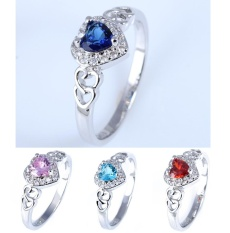 Newest lingmei Super Flash Silver Ring Oval Cut Rainbow Red Blue and White Topaz Gemstone-Blue Heart Size #9 - intl