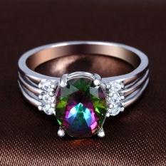 Terbaru Lingmei Super Flash Silver Cincin Oval Cut Rainbow Merah Biru dan Putih Topaz Gemstone-Biru Oval Ukuran # 9-Intl