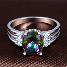 Terbaru Lingmei Super Flash Silver Cincin Oval Cut Rainbow Merah Biru dan Putih Topaz Gemstone-Multicolor Oval Ukuran # 9-Intl