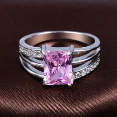 Terbaru Lingmei Pernikahan Hadiah Silver Ring Menghubungkan Cinta Jantung Memotong Rainbow/Putih/ungu & Putih Topaz Gemstone- Putih Square Ukuran #8-Internasional