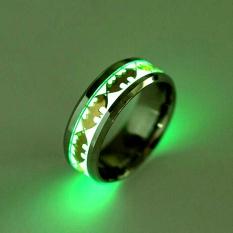Terbaru Mode Terkini Retro Luminous Pria Cincin Batman Antikarat Pria Cincin Perhiasan Pernikahan untuk Cincin Wanita Bahan Logam Bijoux 2 Warna Glow dalam Gelap-Perak Ukuran #12-Intl