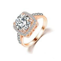 Terbaru Cincin Perhiasan Fashion High-end Zircon Cincin dengan Rhinestones Crystal 18 K Putih Emas Cincin Mewah Perhiasan (emas Putih) -Intl