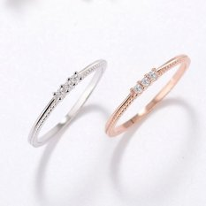 Newest Silver plating Three zirconium drill Rings Above Knuckle Ring Charm jewelry Band Midi Ring size:7-18 (Size/Style:9 ᆪᆲColorᆪᄎRose gold) - intl