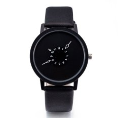Jual Terbaru Simple Quartz Watch Pria Wanita Terkenal Gold Leather Band Minimalis Watches Wrist Watches Hitam Watch Strap Hitam Dial Allwin Internasional Termurah