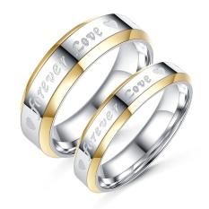 Terbaru Unisex Pria Wanita Pasangan Titanium Steel Cincin Perak Berlapis Selamanya Cinta-Perak Ukuran Wanita #8-Internasional