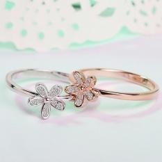 Wanita Terbaru 925 Sterling Silver Rings Rose Gold Ring Bling AAA CZ-Rose Emas Ukuran #9-Intl
