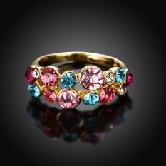 Wanita Terbaru Fashion Colorful Rhinestones Vintage Crystal Cocktail Ring Jari Manis Pernikahan-emas U.S. Ukuran #6-Intl