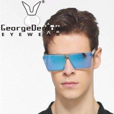 Terbaru Wanita Pria Steampunk Kacamata Hitam Kotak Kebesaran Logam Kacamata Cermin untuk Wanita Pria Lensa Besar Bingkai Perak Transperent Lensa-Intl