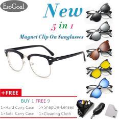 [NEWEST]EsoGoal Magnetic Sunglasses Clip On Glasses Unisex Polarized   Lenses Retro Frame with Set of 5 lenses,Hard Case and Glasses Cloth