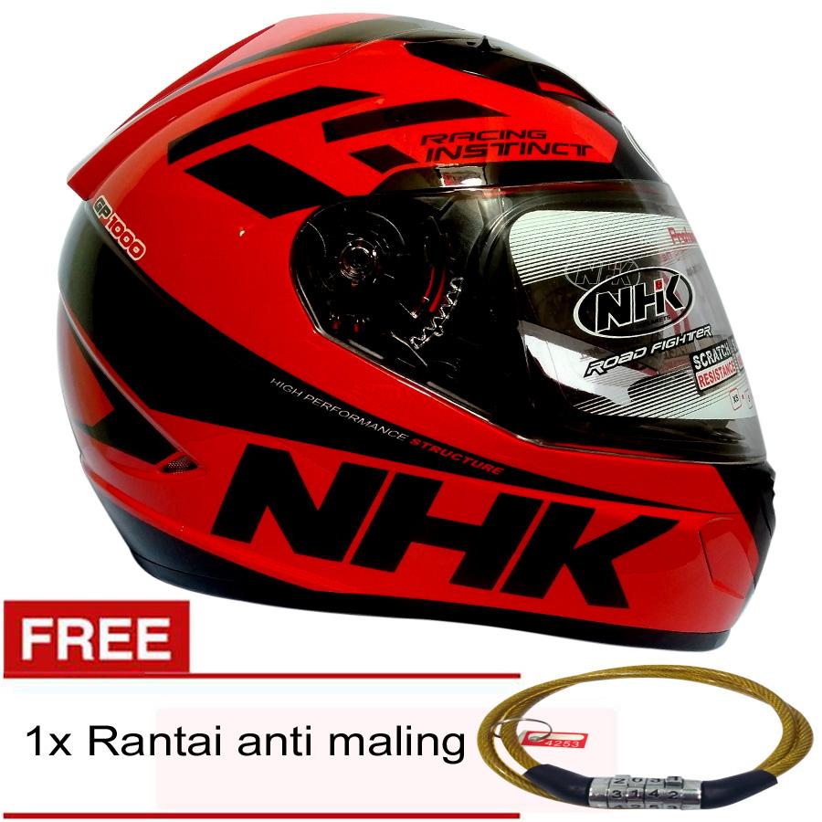 Helm Nhk Gp 1000 Racing Instinc Black Red Double Visor Full Face Gp1000 Xvision Yellow Insinct Merah Hitam Gratis Rantai Anti