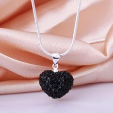 NHT27Mix Warna! Fashion Berwarna-warni Perhiasan Kalung Jantung Liontin Kalung Kristal Perak Jewelry untuk Wanita Hadiah Natal-Intl