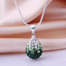 NHTHT7Mix Warna! Fashion Berwarna-warni Perhiasan Kalung DROP Pendant Kalung Kristal Perak Jewelry untuk Wanita Hadiah Natal-Intl